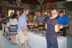 Wedding Reception Buffet set up in the River City Star Landing's Atrium