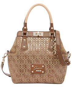 GUESS Park Lane Perforated Turnlock Satchel Handbags   Accessories - Macy s 80f99f71775ae