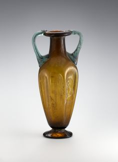 Roman  Two-handled vase, 4th century A.D.  Transparent glass, amber and blue-green