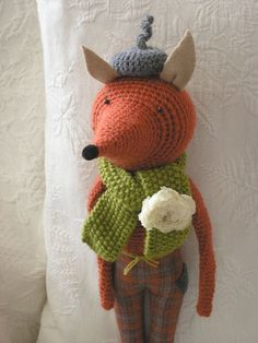 Mr Fox!  Arg - too cute!   To see more of these whimsical toys, hand-crocheted and sewn by Sweet Nellie.  Go and see her etsy shop as well.   She's amazing.