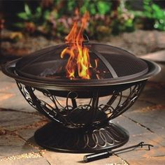 Wood Burning Fire Pit AZ Patio Heaters w/ Mesh Screen & Fire Poker Portable New #AZPatioHeaters #FirePit