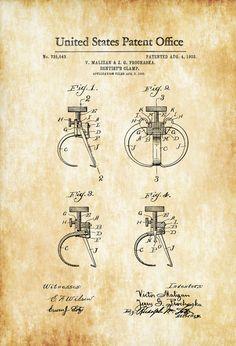 Dentist's Clamp Patent 1903 - Patent Print, Dental Office Decor, Medical Art…