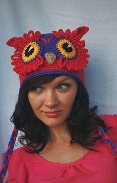 Модные молодежные шапки, шапка сова