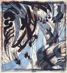 Cyril Power, Air Raid British biplanes tangling with an unidentified enemy against a smoke-filled sky. Art Deco Illustration, Illustrations, Sybil Andrews, Futurism Art, Air Raid, Design Graphique, Linocut Prints, Installation Art, Artwork Prints