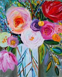 NEW Still LIfe Abstract Floral painting by CarolynShultzFineArt