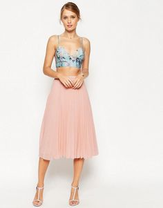 $49 ASOS Pleated Midi Skirt - nude pink (would look cute with white floral crop top)