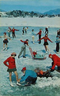 1971 Postcard ~ ICE SKATING on Village Pond ~ Campfire built on Ice | eBay