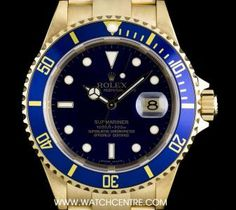 #Rolex 18k Yellow Gold O/P Blue Dial #Submariner Date B&P #16618