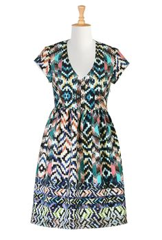 Ikat Print Knit Dresses, Fit And Flare Fall Dresses Shop womens short sleeve dresses - Dress Apparel - to suit any size and shape   eShakti.com