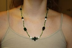 Green and white bead necklace with magnetic clasp by rachelkappler