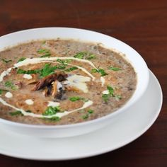 The Real Mushroom Soup with chunky mushroom bits and a drizzle of truffle oil