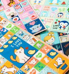 Korean Tian Hui Stickers from Pikku Shop   www.pikku-shop.com   #kawaii #stickers #cute Kawaii Stickers, Cute Stationery, Korean, Shop, Korean Language, Store
