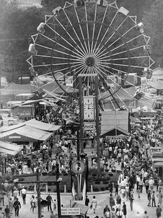 Crowds enjoy the final day of the 1967 Indiana State Fair taken from the top of the grandstand looking toward the midway.