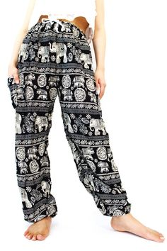 Black Unique Elephant pants Boho pants Yoga by bangkokpants, $12.95