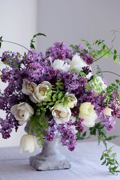 Lilacs and Tulips Spring Flower Arrangements, Vase Arrangements, Beautiful Flower Arrangements, Floral Centerpieces, Flower Vases, Silk Flowers, Spring Flowers, Beautiful Flowers, Orchid Flowers