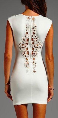 White Sleeveless Back Detail Dress: