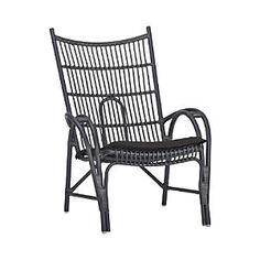 Kruger Black High Back Lounge Chair with Sunbrella® Black Cushion - Crate and Barrel