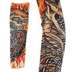 1pc Multi-color Superfine Fiber Elastic Fake Temporary Tattoo Sleeve Designs Body Arm Sockings Tatoo For Men JU17.drop shipping