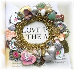 Vintage All Hearts Charm Bracelet Hand Painted Roses Locket Puffy Altered Art