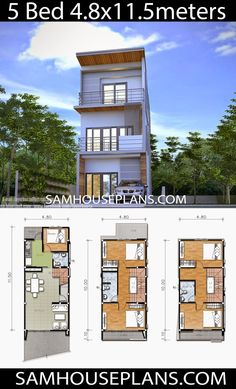 House Plans with 5 Bedrooms - Sam House Plans Small House Layout, House Layout Plans, Duplex House Plans, Bungalow House Design, House Layouts, Narrow House Designs, Narrow Lot House Plans, Modern Exterior House Designs, Modern House Design