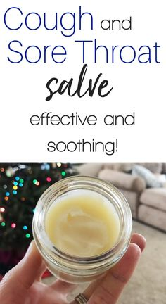 A super effective and soothing cough and sore throat salve for kids and adults. - A super effective and soothing cough and sore throat salve for kids and adults. Oils For Sore Throat, Sore Throat And Cough, Sore Throat Remedies For Adults, Cough Remedies, Homeopathic Remedies, Arthritis Remedies, Ayurveda, Essential Oils For Cough, Essential Oils