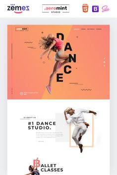 Aeromint is one of the best dance studio landing page templates. Its bright design allows you to post detailed information about your dancing classes. Web Design Mobile, Design Ios, Flat Design, Landing Page Inspiration, Website Design Inspiration, Interface Web, Interface Design, Page Layout Design, Web Layout
