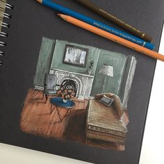 Carrying on with some unfinished drawings today so I can start a new exciting project soon... #art #drawing #pen #sketch #illustration #interior #architecture #interiordesign #fabercastell