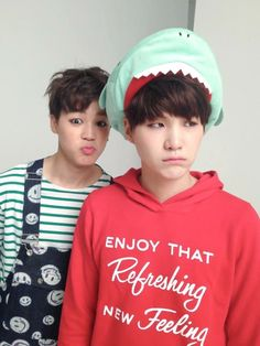 Jimin, Suga... the funniest thing about this pucture is Suga's hoodie with that grumpy face.