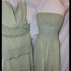 2 Sage Green coordinating bridesmaid dresses ***Size 10 (tiered/ ruffled). Bust:  36. Waist:  28.  Hips:  38 1/2. Dress measures 39 inches from top of bodice down the side hem.                                                                                              ***Size 8.  Bust:  35.  Waist:  27.  Hips:  37 1/2. Dress measures 38 1/2 inches from top of bodice down the side hem Jasmine B2 Collection Dresses