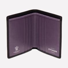 Ettinger London - Luxury Leather Goods - Sterling Mini Wallet with 6 C/C in Purple