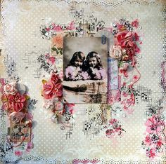 Scraps of Elegance scrapbook kits - mixed media layout by Anna Rogalska, created with the Sweet Sentiments kit