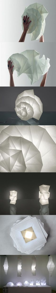 Like paper lamps! Like Origami! Like light! Origami Design, Architecture Origami, Architecture Design, Paper Folding, Kirigami, Issey Miyake, Lamp Design, Shapes, Crafty