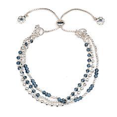 'Delia' Silver Iolite Three Strand Slide Clasp Bracelet | Discover Azuni www.azuni.co.uk