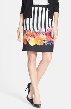 Free shipping and returns on Trina Turk 'Botany' Print Pencil Skirt at Nordstrom.com. Vibrantly colored photorealistic flowers bloom atop the black-and-white stripes running down a silky skirt designed for a classic pencil silhouette.