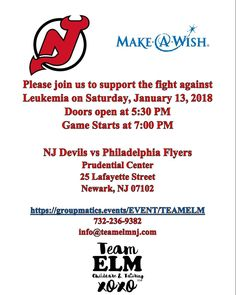 Good afternoon everyone! I'm the event coordinator for a company called Team ELM Childcare and Tutoring LLC. Team ELM provides child care tutoring standardized test prep and event planning services such as a birthday parties workshops and more. Team ELM bought 100 tickets for the @njdevils Vs. @philadelphiaflyers game on Saturday January 13 2018 at the Prudential Center (25 Lafayette Street Newark NJ 07102. The doors open at 5:30 PM and the game begins at 7:00 PM. A percentage of the ticket…