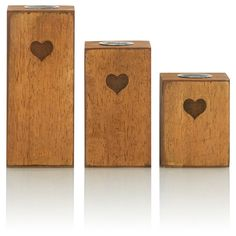 George Home Set Of Three Wooden Tea Light Blocks | Gift Sets | ASDA direct