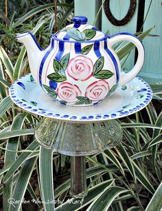 Pink Roses Teapot Garden Whimsy Stake / by GardenWhimsiesByMary