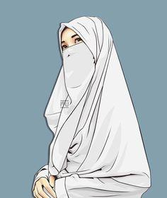 Hijab Niqab, Muslim Hijab, Hijabi Girl, Girl Hijab, Best Facebook Profile Picture, Hijab Drawing, Islamic Cartoon, Islam Women, Hijab Cartoon