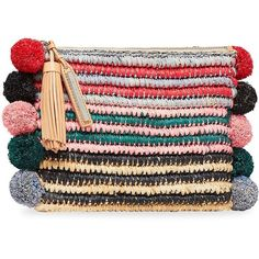 Loeffler Randall Tassel Straw Pouch (€160) ❤ liked on Polyvore featuring bags, handbags, clutches, straw clutches, hand bags, loeffler randall handbags, man bag and purse clutches