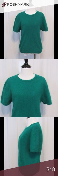 """Lisa International Green Angora Blend Sweater L Wonderful condition. Super soft. Crew neck. Short sleeve.   Material: 70% angora rabbit hair 30% nylon  Bust: 40"""" Length: 23"""" All clothes have been inspected and have no stains, holes or other flaws unless otherwise noted.   P12 Lisa International Sweaters Crew & Scoop Necks"""