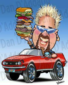 Funny Caricatures, Celebrity Caricatures, Celebrity Drawings, Cartoon Faces, Funny Faces, Cartoon Drawings, Chef Guy Fieri, Create A Comic, Cartoon Logo