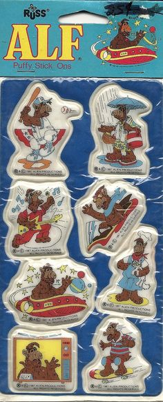 80's ALF Puffy Stickers.... I remember the puffy stickers AND the scratch n sniff ones - were my favorites...lol Ah, puffy stickers. And then they broke and the lil foam piece fell out. :(