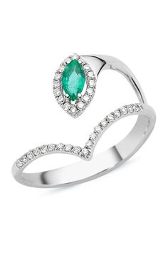 Buy this heart Shaped Emerald Style, This AR01019 18 karat ring weighs 2,84 grams .. From Ritoot.com Store , by Ararat Jewelry