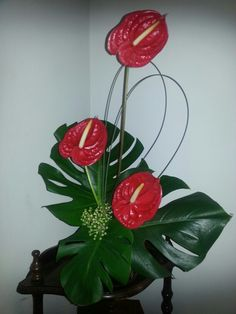 My modern floral arrangement using red anthuriums and monsteira leaves and the little clumps of flowers at the front I borrowed off a fellow class mate and we are yet to find out what they are. My mum thinks japonica ?