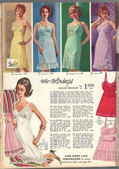 Aldens Fall & Winter I love pretty slips! Retro Fashion, Vintage Fashion, Vintage Lingerie, Retro Style, Catalog, Fall Winter, Slip On, Ads, Colour