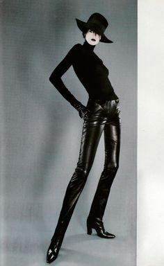 "gioellia: "" designerleather: "" Stella Tennant by Jean Baptiste Mondino for Vogue Paris - Jean-Claude Jitrois leather pants "" www.gioellia.com PROMO CODE 20% OFF: OF6Y9JBDT7C5 """