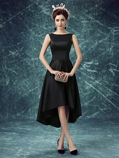 A-Line scoop neck satin with ruffles asymmetrical black high low simple prom dresses # Cheap Formal Dresses, High Low Prom Dresses, Black Evening Dresses, Grad Dresses, Prom Dresses Online, Evening Gowns, Pageant Dresses, Walpaper Black, Vestidos Plus Size
