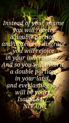 Isaiah .61.7.nivuk Instead of your shame you will receive a double portion, and instead of disgrace you will rejoice in your inheritance. And so you will inherit a double portion in your land, and everlasting joy will be yours.