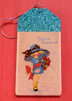 Vintage easter girls easter gift tag glitter wood tag easter vintage easter girls easter gift tag glitter wood tag easter wishes vintage easter image gift for easter wood tag easter greetings by rosali negle Images