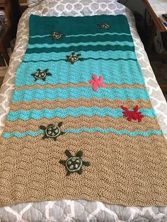 Chunky Crochet Blankets Ravelry: Project Gallery for Baby Sea Turtle Blanket pattern by Mandy Huseth - Easy Beginner Crochet Patterns, Baby Afghan Crochet Patterns, Crochet For Beginners Blanket, Easy Crochet Projects, Baby Blanket Crochet, Crochet Blankets, Crochet Ideas, Crochet Afghans, Free Crochet